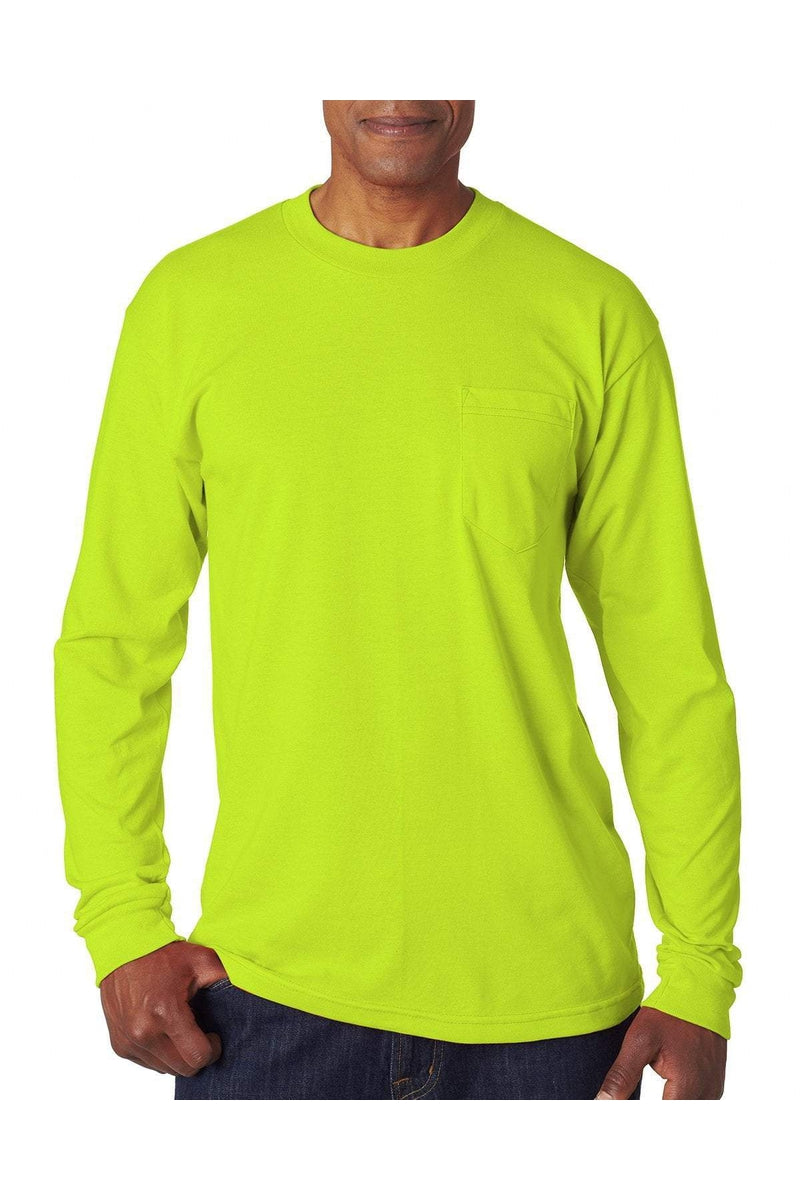 Bayside BA1730: Adult Long-Sleeve T-Shirt with Pocket-T-Shirts-Bulkthreads.com, Wholesale T-Shirts and Tanks