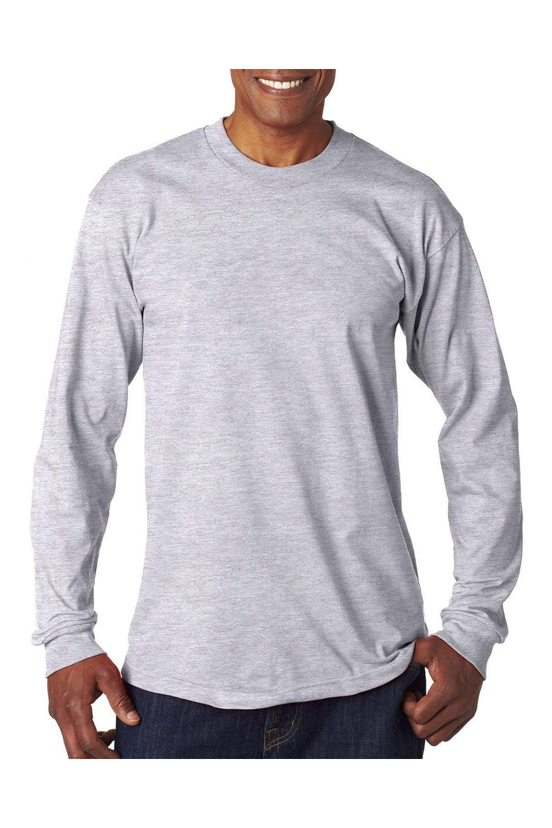 Bayside BA6100: Adult 6.1 oz., 100% Cotton Long Sleeve T-Shirt-T-Shirts-Bulkthreads.com, Wholesale T-Shirts and Tanks