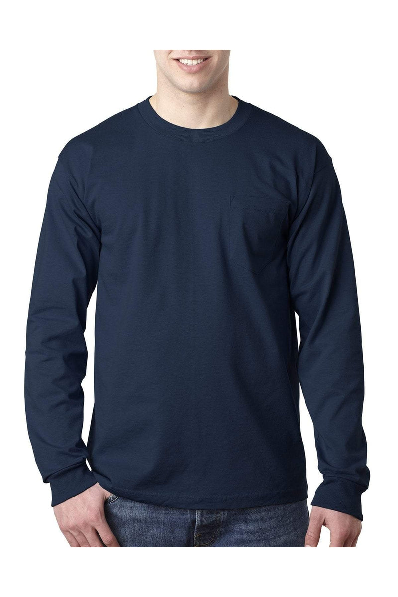 Bayside BA8100: Adult 6.1 oz., 100% Cotton Long Sleeve Pocket T-Shirt, Basic Colors-T-Shirts-Bulkthreads.com, Wholesale T-Shirts and Tanks