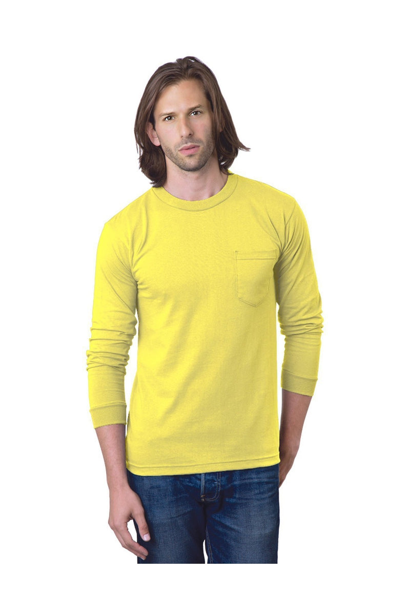 Bayside BA8100: Adult 6.1 oz., 100% Cotton Long Sleeve Pocket T-Shirt-T-Shirts-Bulkthreads.com, Wholesale T-Shirts and Tanks