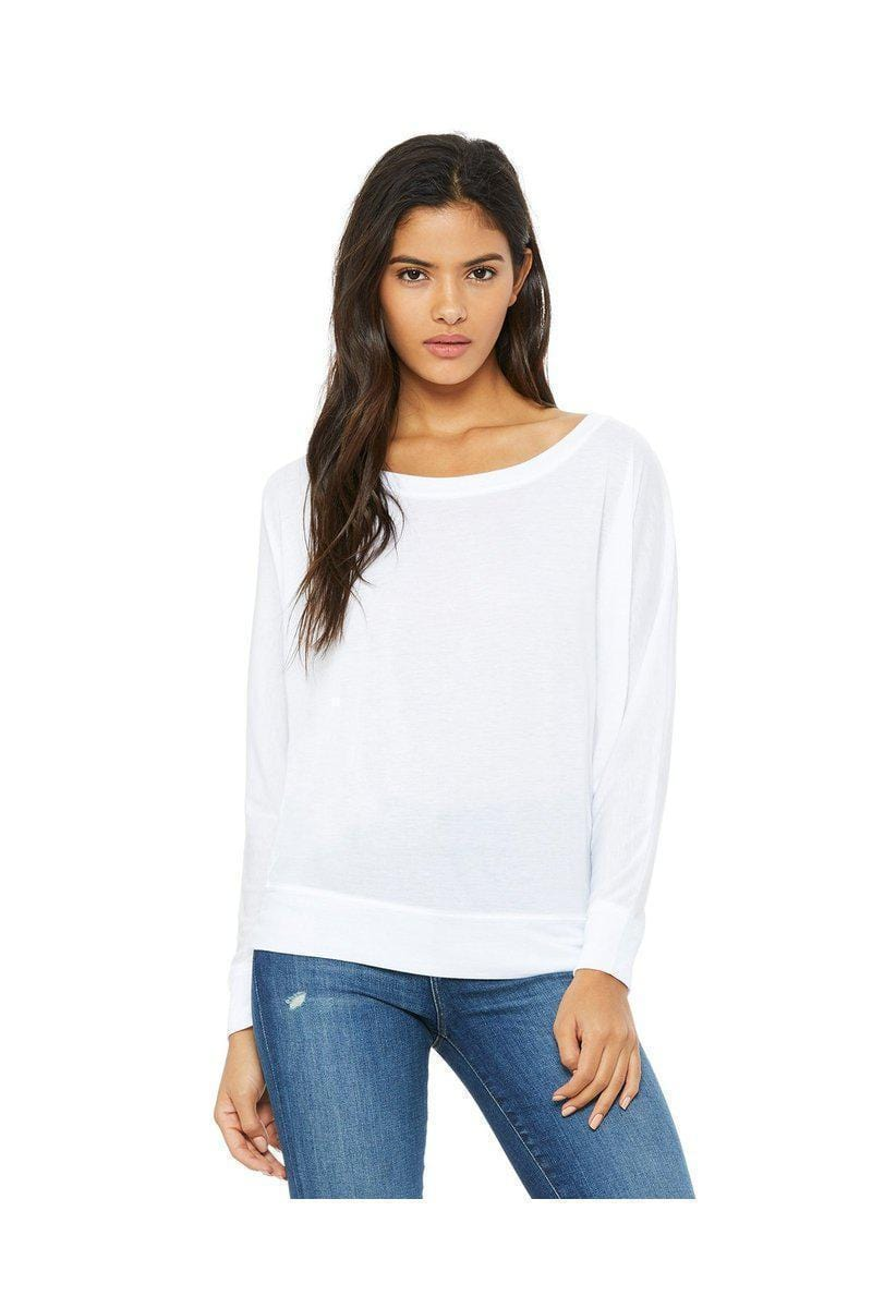 Bella + Canvas 8850: Ladies Flowy Long Sleeve Off Shoulder T-Shirt-Ladies T-Shirt-Bulkthreads.com, Wholesale T-Shirts and Tanks