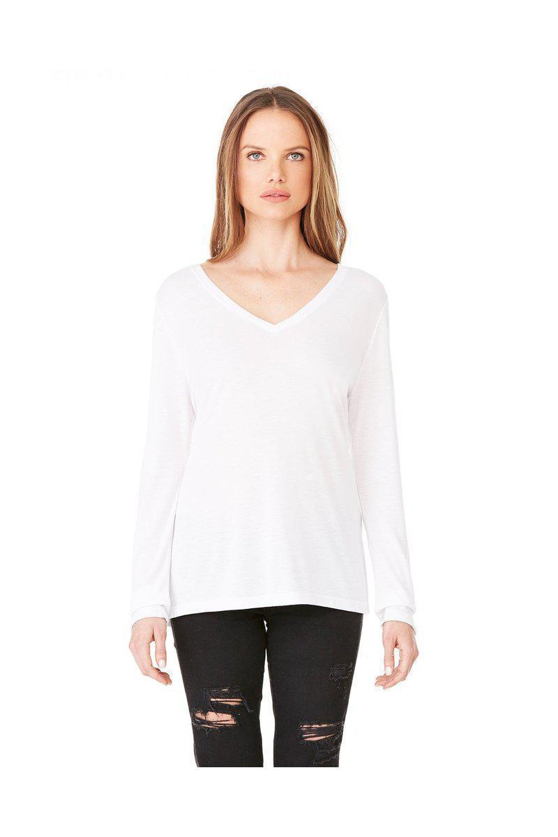 Bella + Canvas 8855: Ladies' Flowy Long Sleeve V-Neck-Ladies T-Shirt-Bulkthreads.com, Wholesale T-Shirts and Tanks