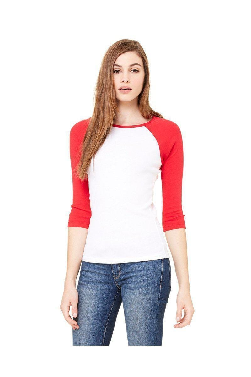 Bella + Canvas B2000: Ladies 3/4 Sleeve Raglan T-Shirt-Ladies T-Shirt-Bulkthreads.com, Wholesale T-Shirts and Tanks