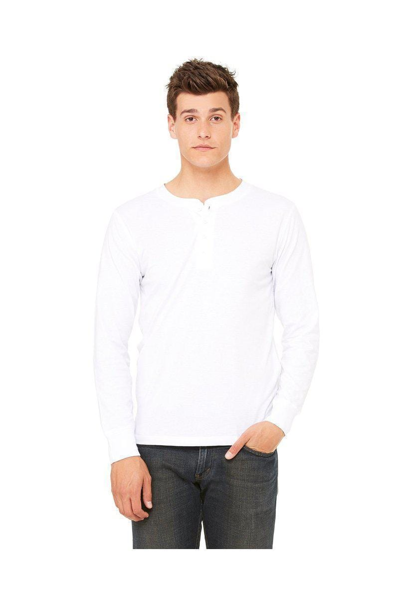 Bella+Canvas 3150: Men's Long Sleeve Henley-Long-Sleeve T-Shirt-Bulkthreads.com, Wholesale T-Shirts and Tanks