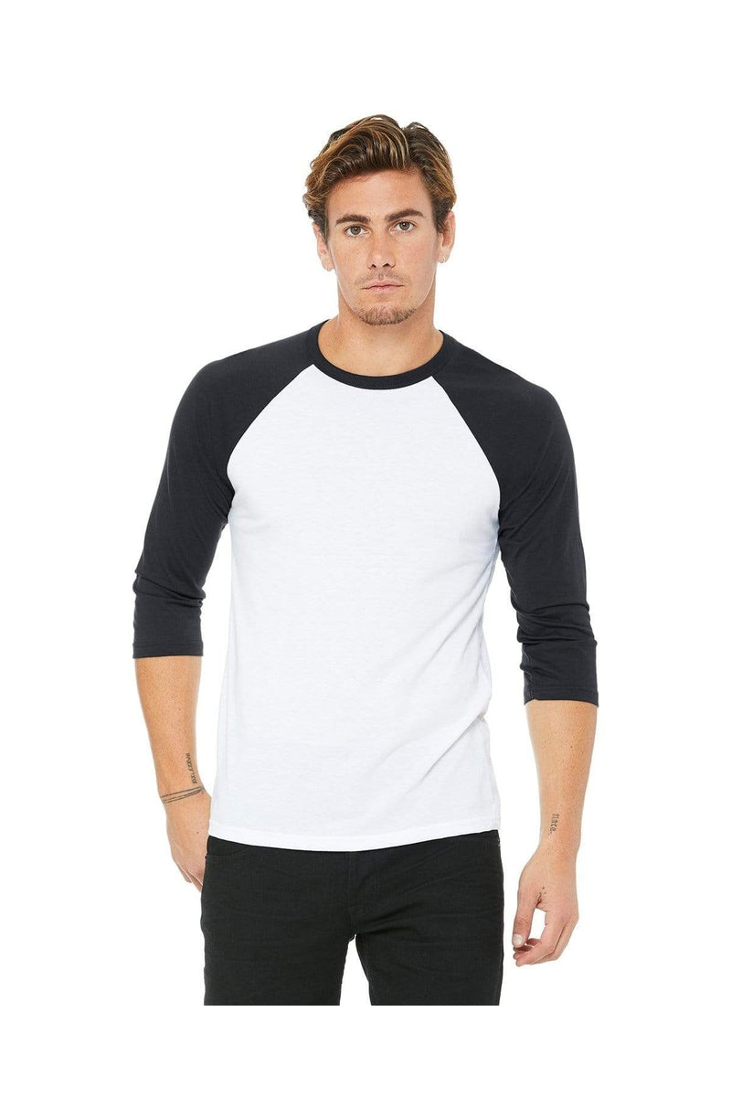 Bella+Canvas 3200: Unisex 3/4-Sleeve Baseball T-Shirt, Basic Colors-T-Shirts-Bulkthreads.com, Wholesale T-Shirts and Tanks