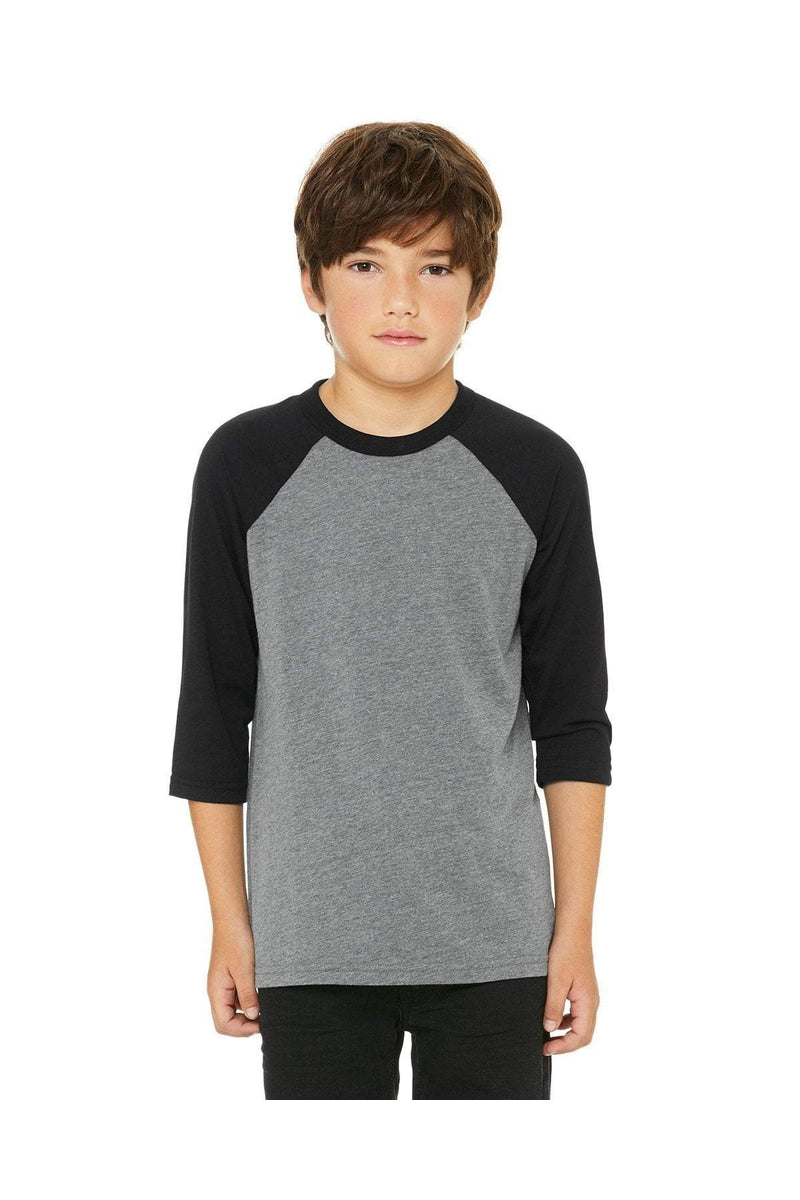Bella+Canvas 3200Y: Youth 3/4-Sleeve Baseball T-Shirt, Basic Colors-T-Shirts-Bulkthreads.com, Wholesale T-Shirts and Tanks