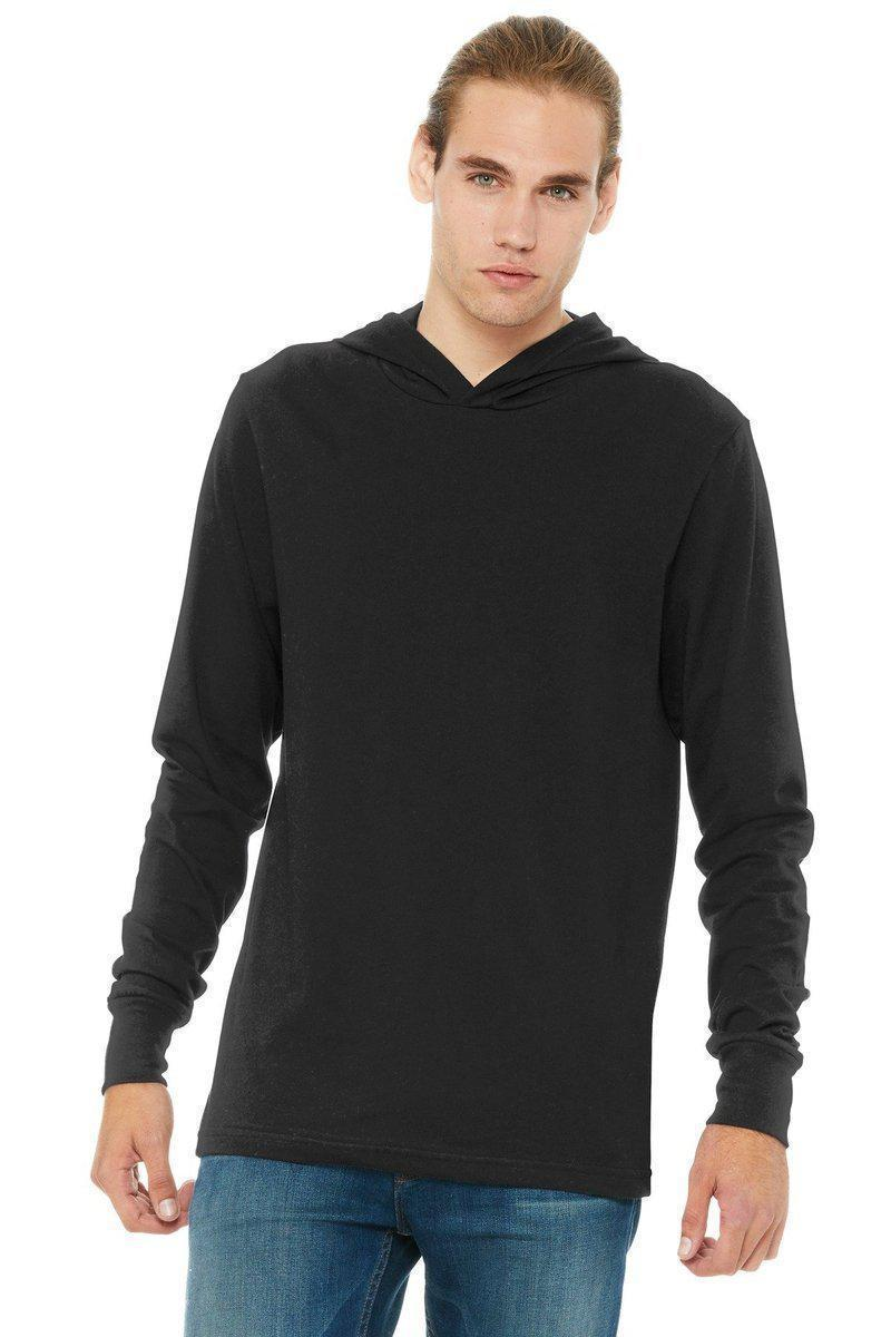 BELLA+CANVAS 3512: Unisex Jersey Long Sleeve Hoodie-Men's T-Shirts-Bella+Canvas-Black-XS-wholesale t shirts -Bulkthreads.com