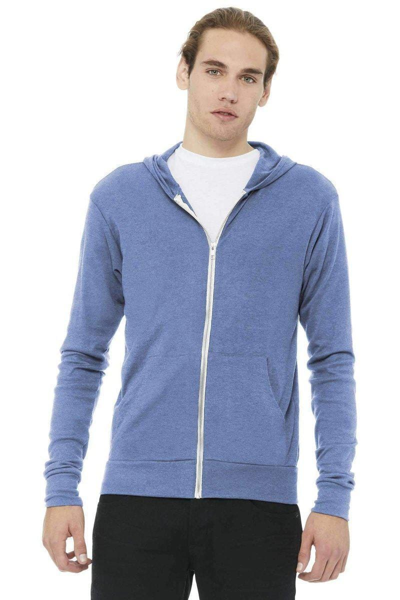 Bella+Canvas 3939: Unisex Triblend Full-Zip Lightweight Hoodie-Sweatshirts/Fleece-Bella+Canvas-Blue Triblend-XS-wholesale t shirts -Bulkthreads.com