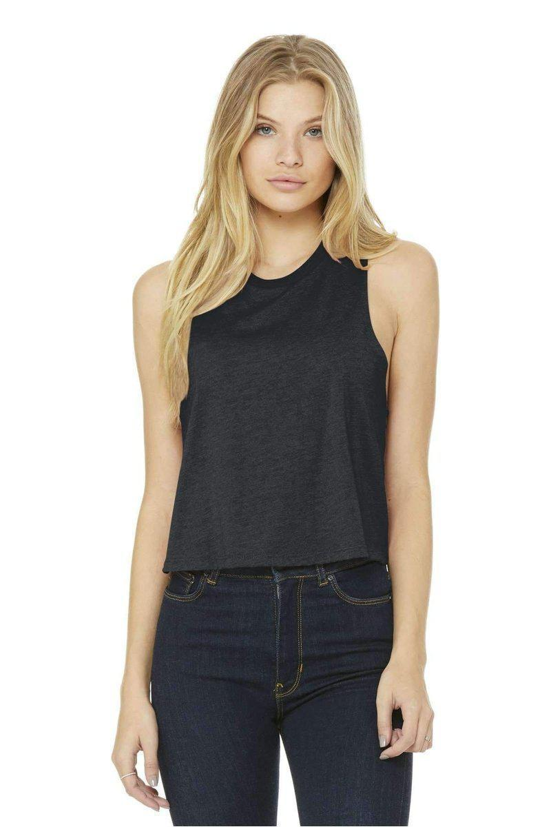 Bella+Canvas 6682: Women's Racerback Cropped Tank-Women's Tank Top-Bella+Canvas-Dark Grey Heather-S-wholesale t shirts -Bulkthreads.com