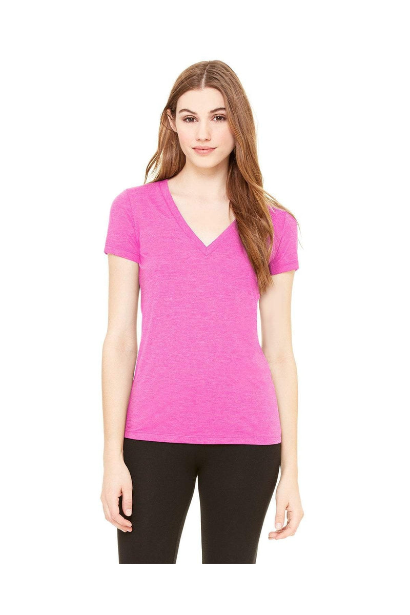 Bella+Canvas 8435: Ladies' Triblend Short-Sleeve Deep V-Neck T-Shirt, Basic Colors-Bella+Canvas-Bulkthreads.com
