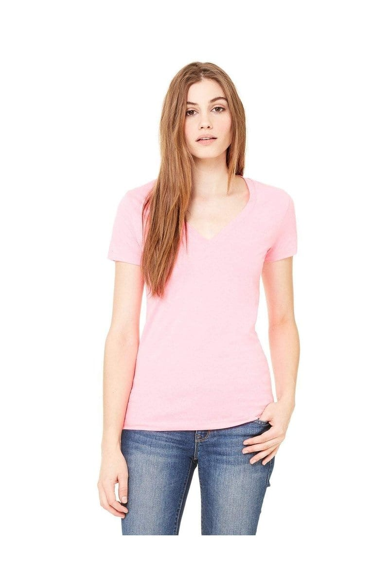 Bella+Canvas B6035: Ladies' Jersey Short-Sleeve Deep V-Neck T-Shirt, Basic Colors-T-Shirts-Bulkthreads.com, Wholesale T-Shirts and Tanks