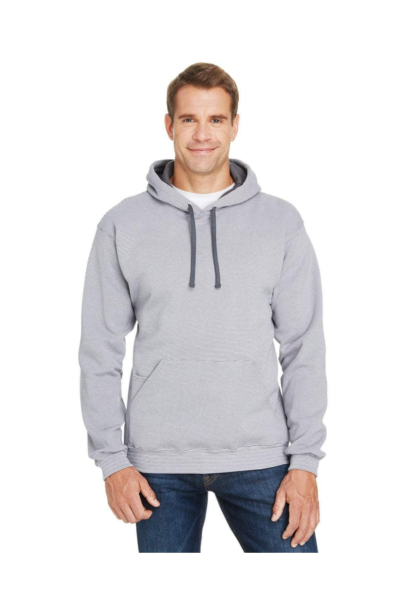 Fruit of the Loom SF77R: Adult 7.2 oz. Sofspun(r) Striped Hooded Sweatshirt-Sweatshirts-Bulkthreads.com, Wholesale T-Shirts and Tanks