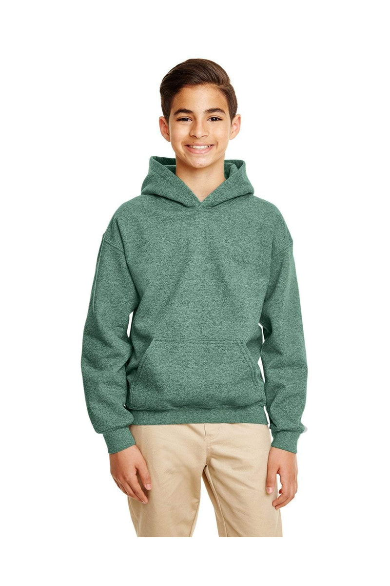G185B Gildan Boys Heavy Blend Hooded Sweatshirt -Graphite Heather-L