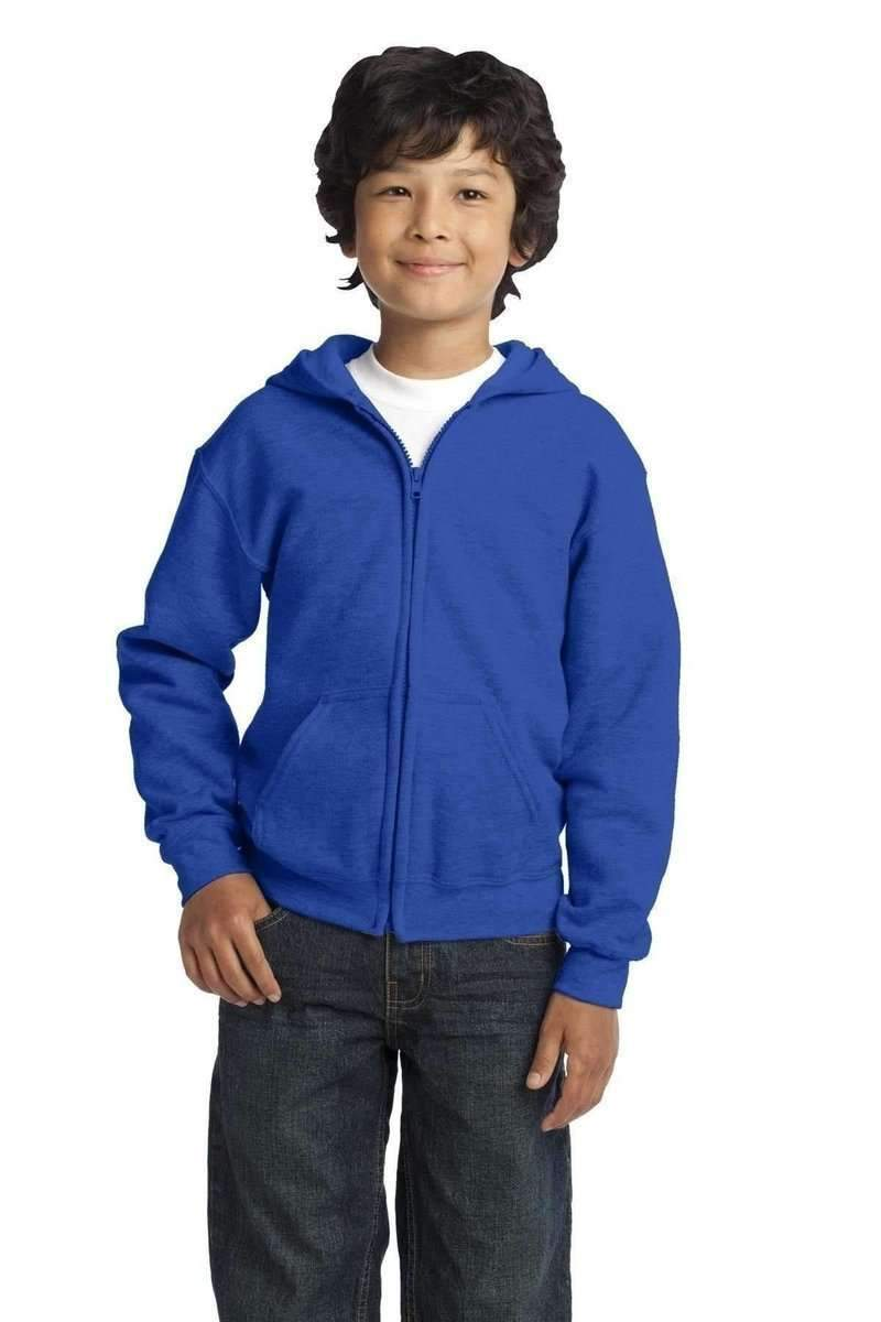 Gildan G186B: Youth Heavy Blend Full-Zip Hooded Sweatshirt-Sweatshirts/Fleece-Gildan-Royal-XS-wholesale t shirts -Bulkthreads.com