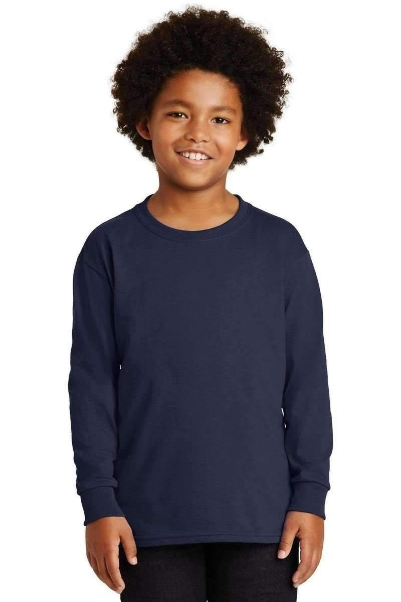 Gildan G240B: Youth Ultra Cotton Long Sleeve T-Shirt-T-Shirts-Gildan-Navy-S-wholesale t shirts -Bulkthreads.com