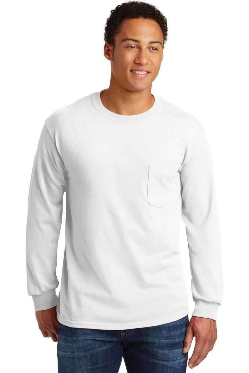 elegant and sturdy package how to find super cheap Gildan G241: Ultra, 100% Cotton Long Sleeve T-Shirt with Pocket