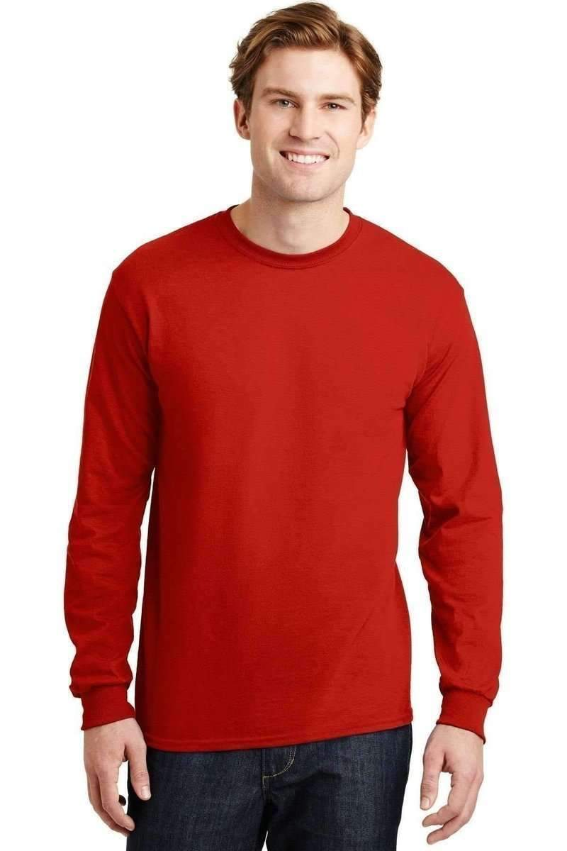 Gildan G840: DryBlend 50 Cotton/50 Poly Long Sleeve T-Shirt-T-Shirts-Gildan-Red-S-wholesale t shirts -Bulkthreads.com