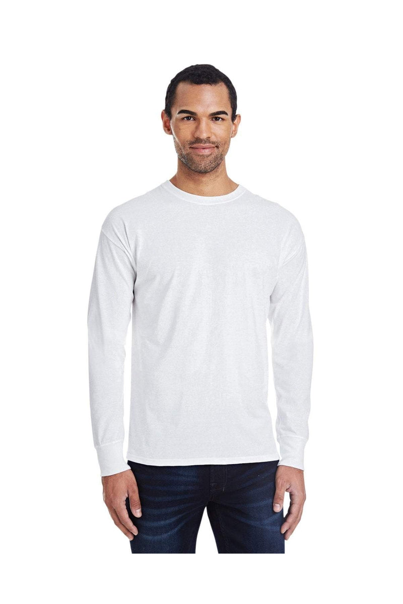 Hanes 42L0: Men's 4.5 oz., 60/40 Ringspun Cotton/Polyester X-Temp® Long-Sleeve T-Shirt-T-Shirts-Bulkthreads.com, Wholesale T-Shirts and Tanks