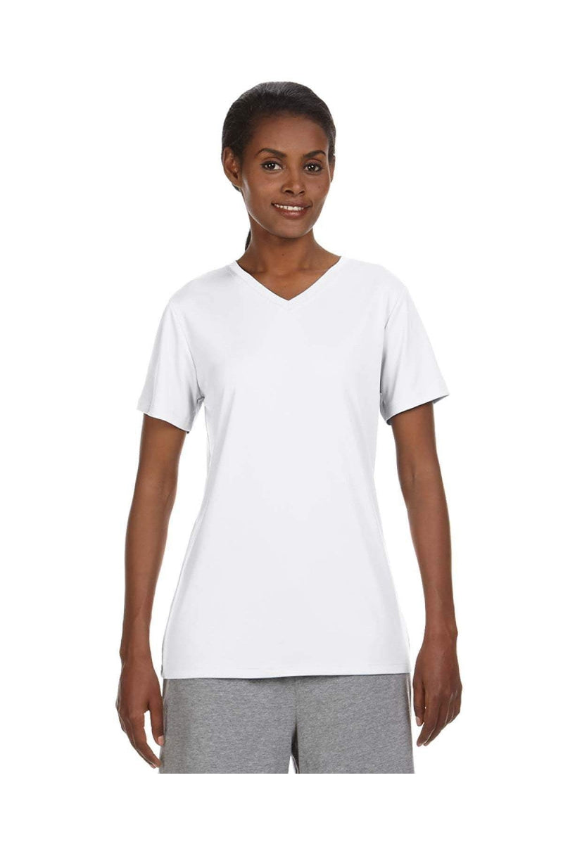 Hanes 483V: Ladies' Cool DRI® with FreshIQ V-Neck Performance T-Shirt-Hanes-Bulkthreads.com