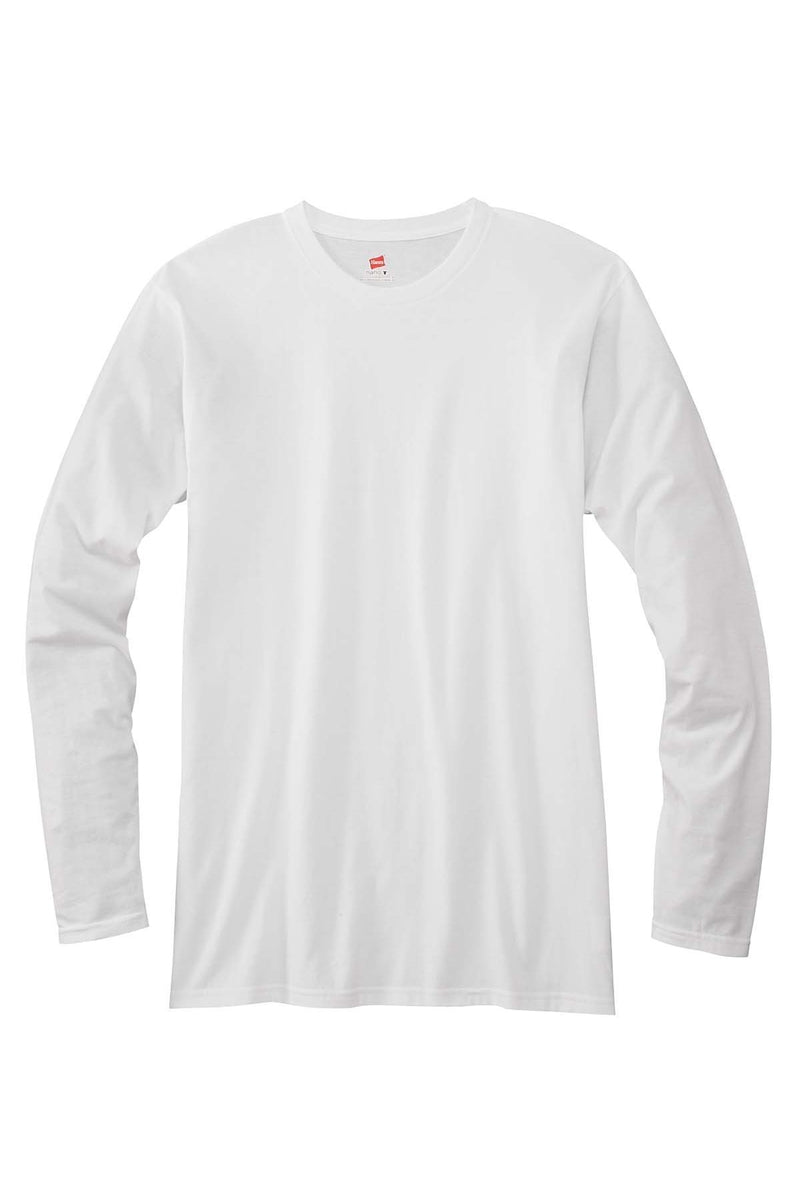 Hanes 498L: Adult 4.5 oz., 100% Ringspun Cotton nano-T® Long-Sleeve T-Shirt-T-Shirts-Bulkthreads.com, Wholesale T-Shirts and Tanks