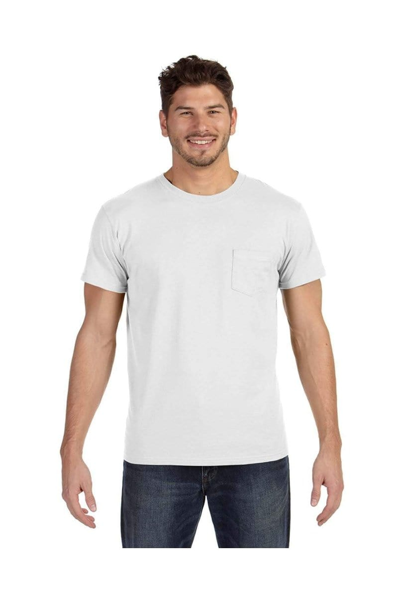 Hanes 498P: Adult 4.5 oz., 100% Ringspun Cotton nano-T® T-Shirt with Pocket-T-Shirts-Bulkthreads.com, Wholesale T-Shirts and Tanks