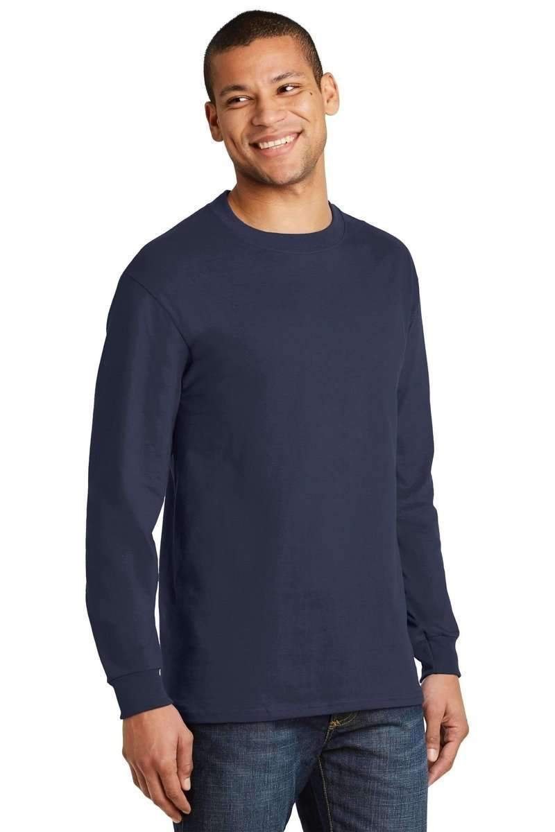 Hanes 5186: 100% Cotton, Long-sleeved Tee-Men's T-shirts-Hanes-S-Navy-wholesale t shirts -Bulkthreads.com