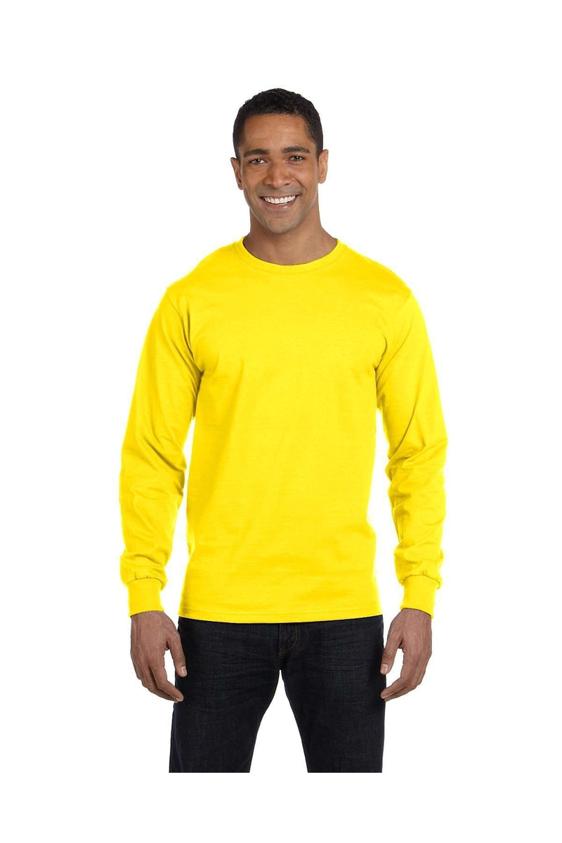 Hanes 5186: Adult 6.1 oz. Long-Sleeve Beefy-T®, Basic Colors-T-Shirts-Bulkthreads.com, Wholesale T-Shirts and Tanks
