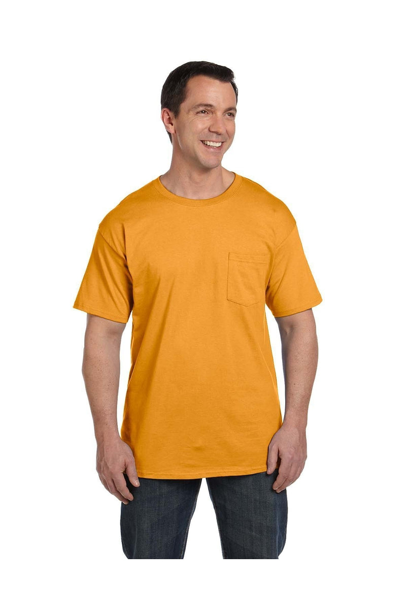 Hanes 5190P: Adult 6.1 oz. Beefy-T® with Pocket, Basic Colors-Hanes-Bulkthreads.com