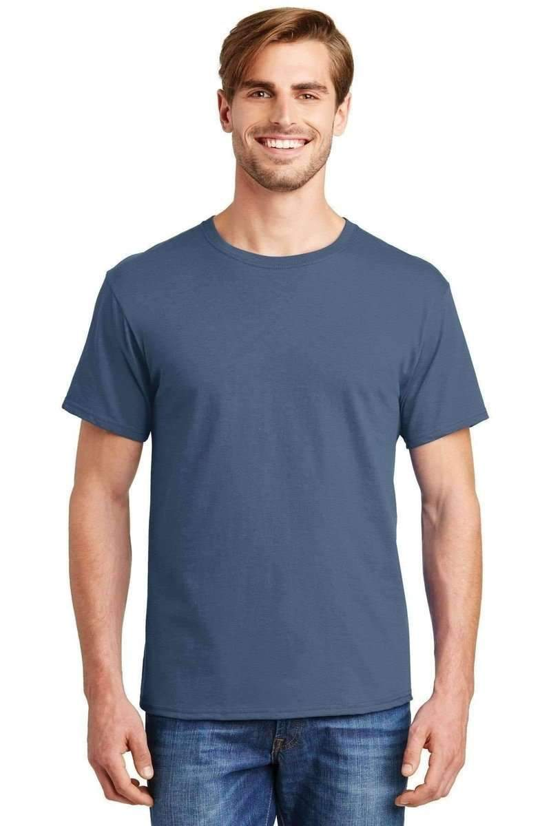 Hanes 5280: ComfortSoft 100% Cotton T-Shirt-T-Shirts-Hanes-Denim Blue-S-wholesale t shirts -Bulkthreads.com