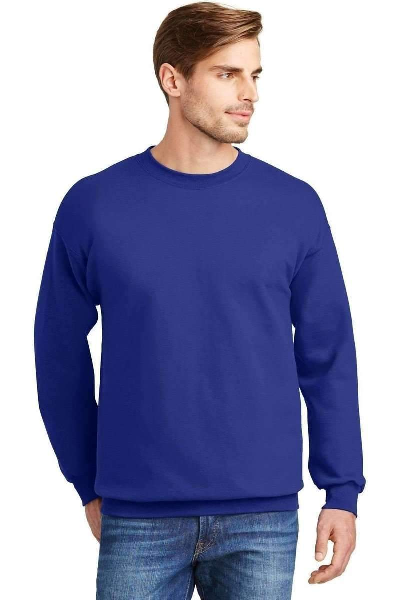 Hanes F260: Ultimate Cotton Crewneck Sweatshirt-Sweatshirts/Fleece-Hanes-Deep Royal-S-wholesale t shirts -Bulkthreads.com