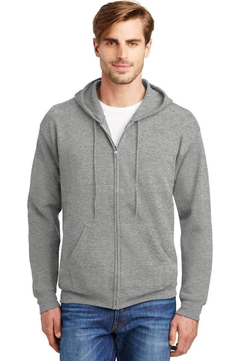 Hanes P180: EcoSmart Full-Zip Hooded Sweatshirt-Sweatshirts/Fleece-Bulkthreads.com, Wholesale T-Shirts and Tanks