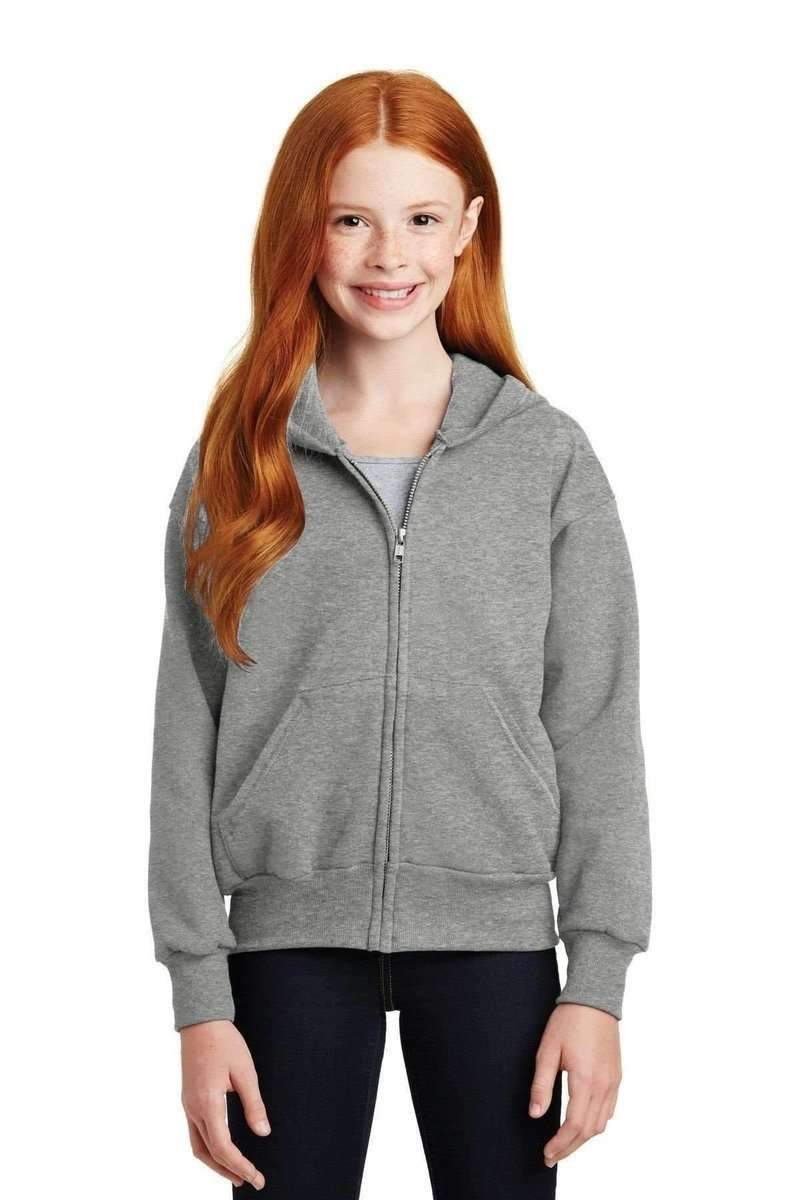 Hanes P480: Youth EcoSmart Full-Zip Sweatshirt-Sweatshirts/Fleece-Hanes-Light Steel-XS-wholesale t shirts -Bulkthreads.com