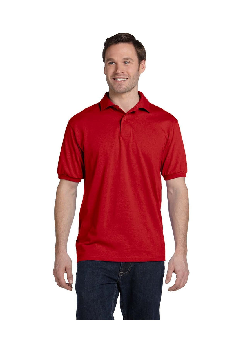 Hanes 054: Adult 5.2 oz., 50/50 EcoSmart(r) Jersey Knit Polo, Basic Colors-Polos-Bulkthreads.com, Wholesale T-Shirts and Tanks