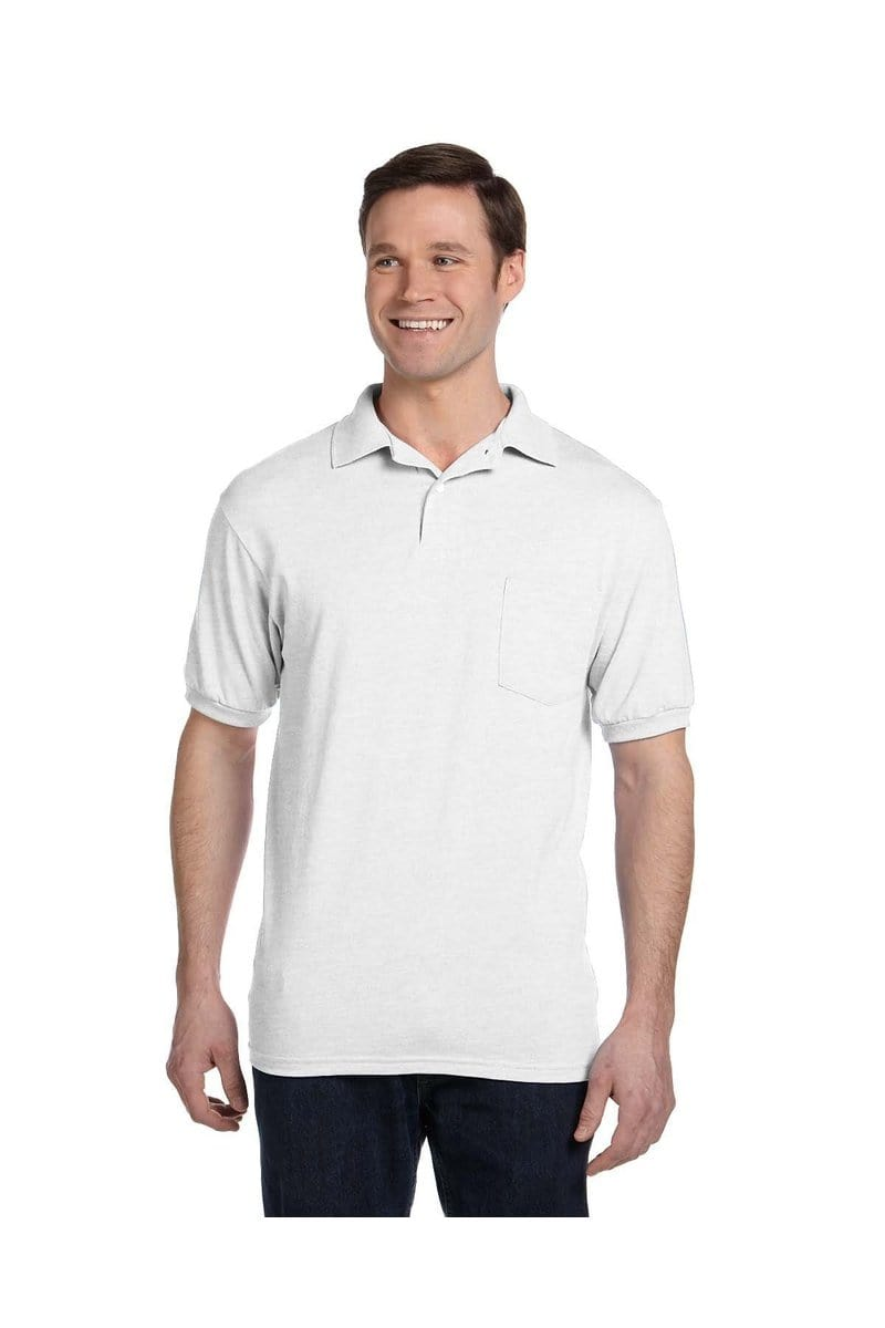 Hanes 054P: Adult 5.2 oz., 50/50 EcoSmart(r) Jersey Pocket Polo-Polos-Bulkthreads.com, Wholesale T-Shirts and Tanks