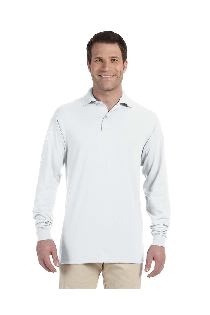 Jerzees 437ML: Adult 5.6 oz. SpotShield(tm) Long-Sleeve Jersey Polo-Polos-Bulkthreads.com, Wholesale T-Shirts and Tanks