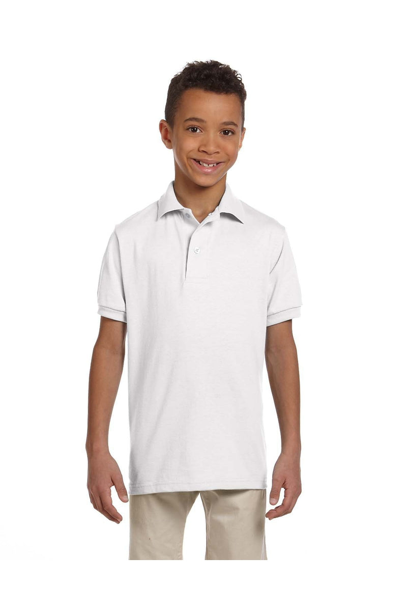Jerzees 437Y: Youth 5.6 oz. SpotShield(tm) Jersey Polo-Polos-Bulkthreads.com, Wholesale T-Shirts and Tanks