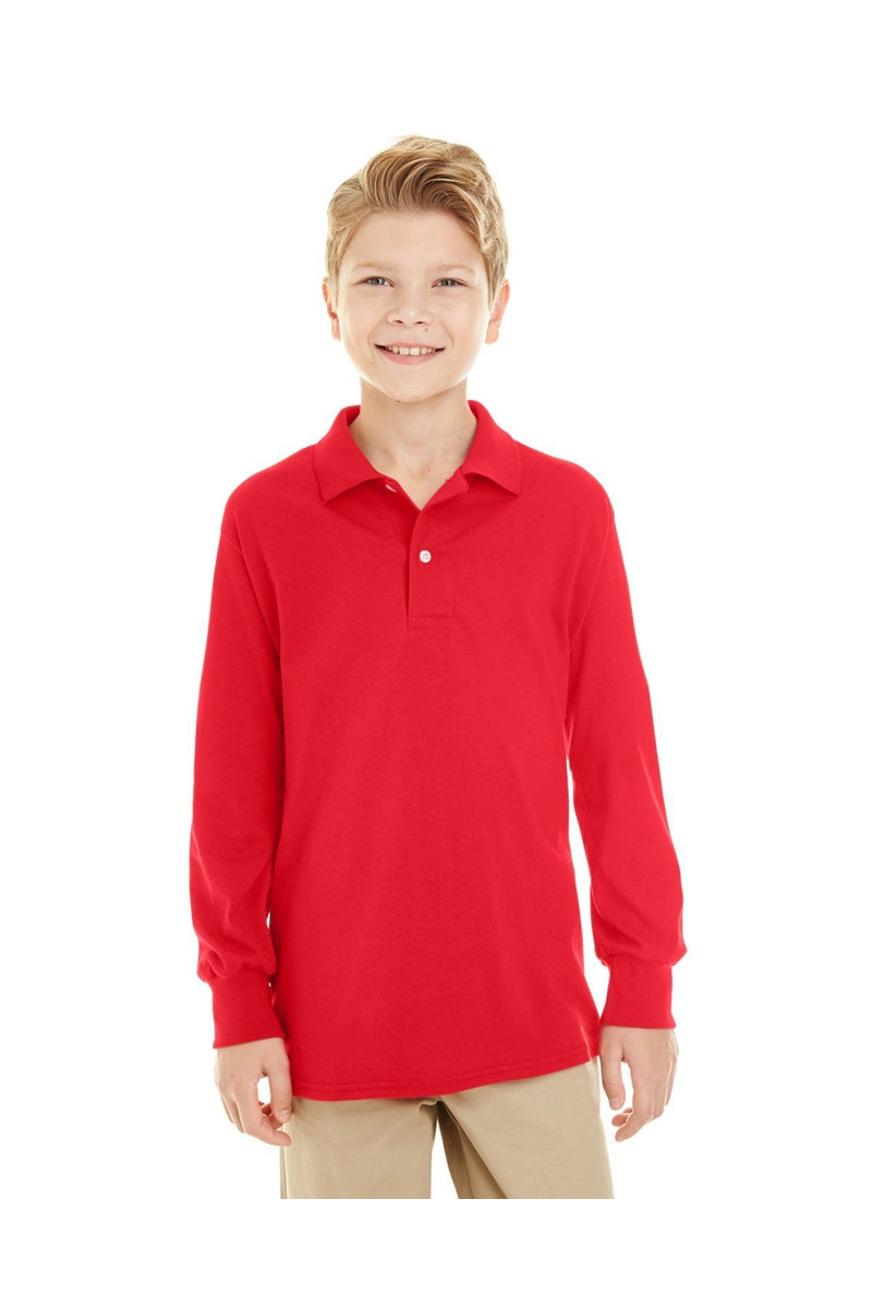 Jerzees 437YL: Youth 5.6 oz. SpotShield(tm) Long-Sleeve Jersey Polo-Polos-Bulkthreads.com, Wholesale T-Shirts and Tanks
