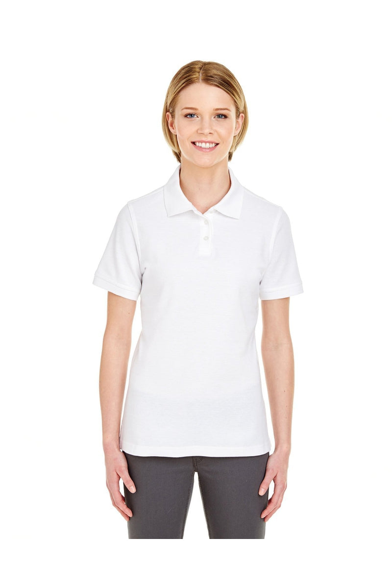 UltraClub 7510L: Ladies' Platinum Honeycomb Pique Polo-Polos-Bulkthreads.com, Wholesale T-Shirts and Tanks