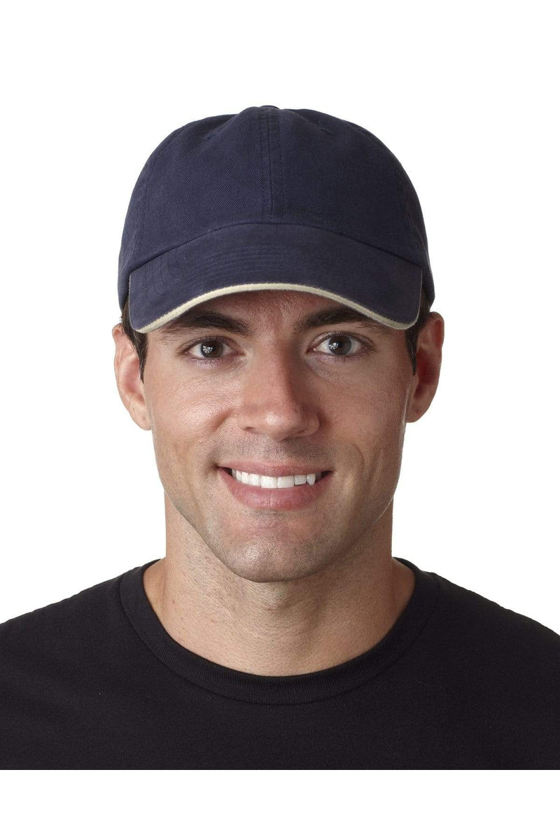 UltraClub 8112: Adult Classic Cut Brushed Cotton Twill Unstructured Sandwich Cap