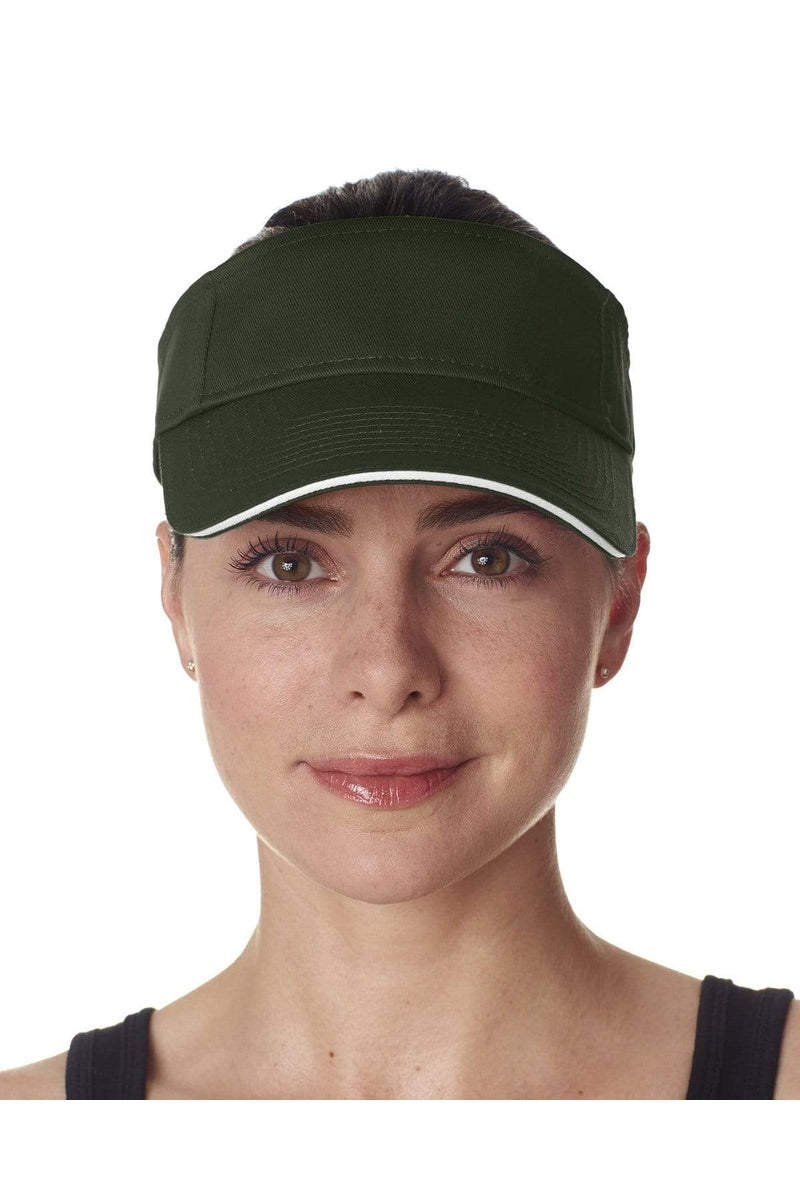 UltraClub 8113: Adult Classic Cut Brushed Cotton Twill Sandwich Visor
