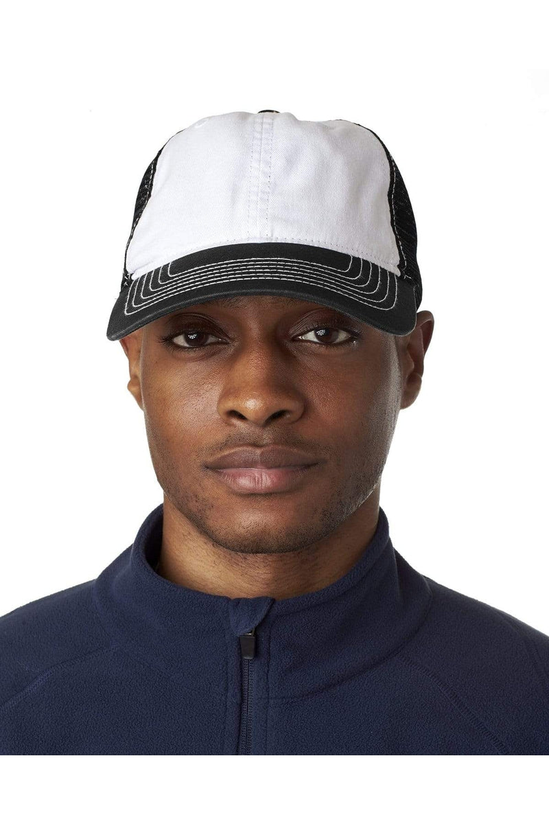 UltraClub 8114: Adult Classic Cut Brushed Cotton Twill Unstructured Trucker Cap