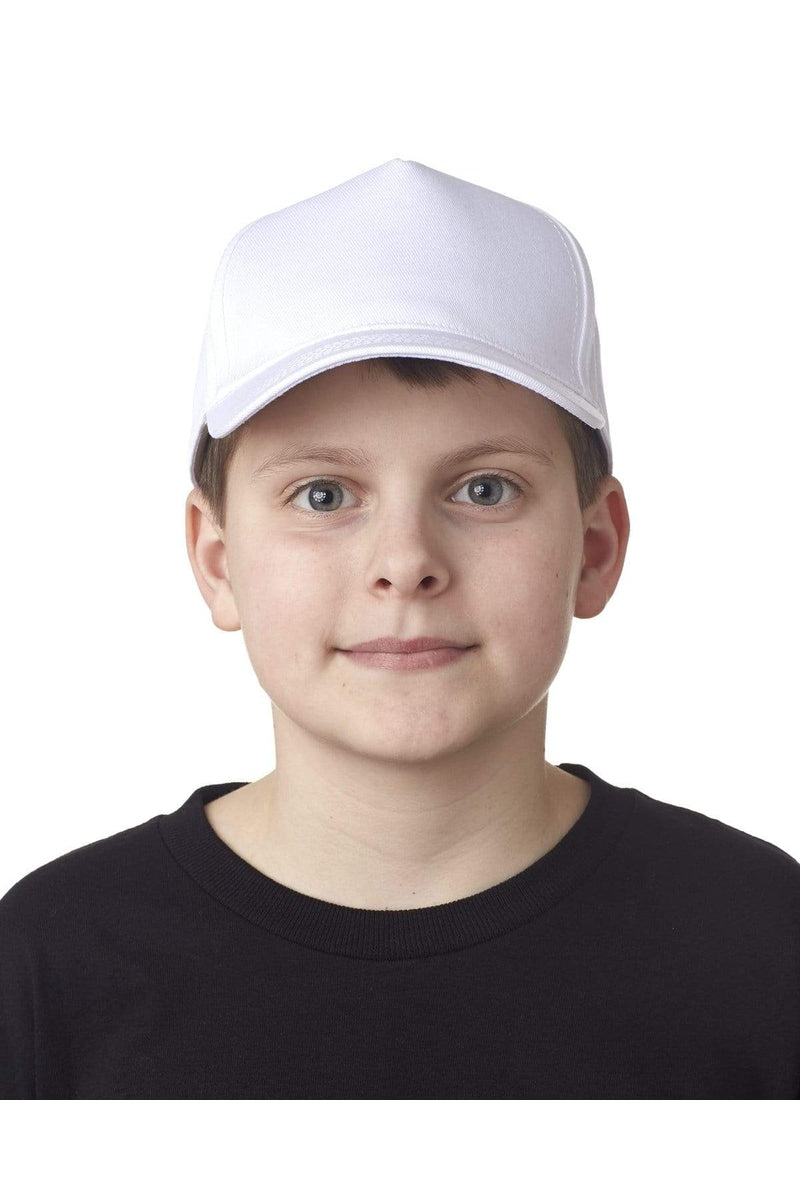UltraClub 8120Y: Youth Classic Cut Cotton Twill 5-Panel Cap