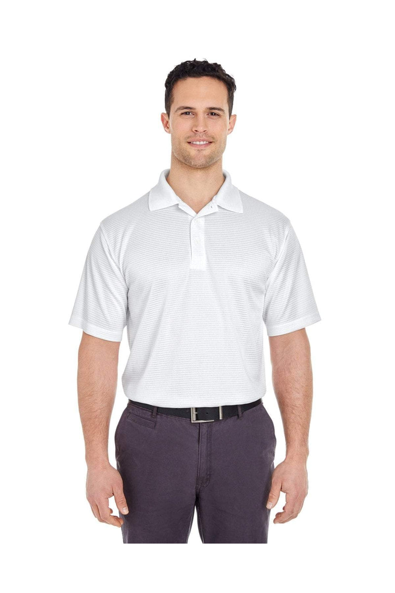 UltraClub 8305: Men's Cool & Dry Elite Mini-Check Jacquard Polo-Polos-Bulkthreads.com, Wholesale T-Shirts and Tanks