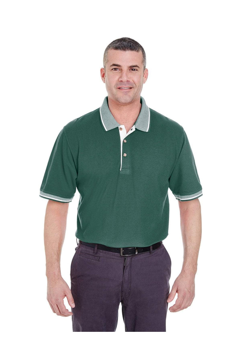 UltraClub 8537: Adult Color-Body Classic Pique Polo with Contrast Multi-Stripe Trim-Polos-Bulkthreads.com, Wholesale T-Shirts and Tanks
