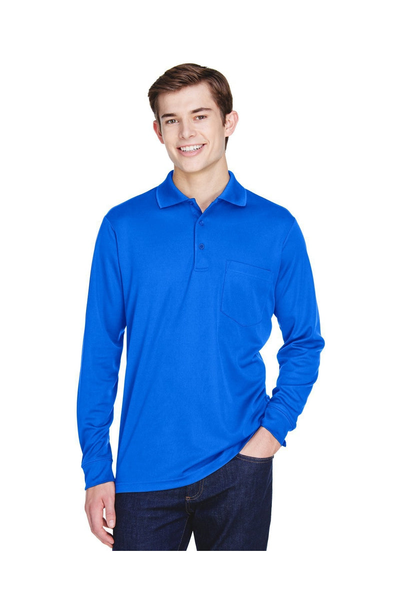 Ash City - Core 365 88192P: Adult Pinnacle Performance Long-Sleeve Pique Polo with Pocket-Polos-Bulkthreads.com, Wholesale T-Shirts and Tanks