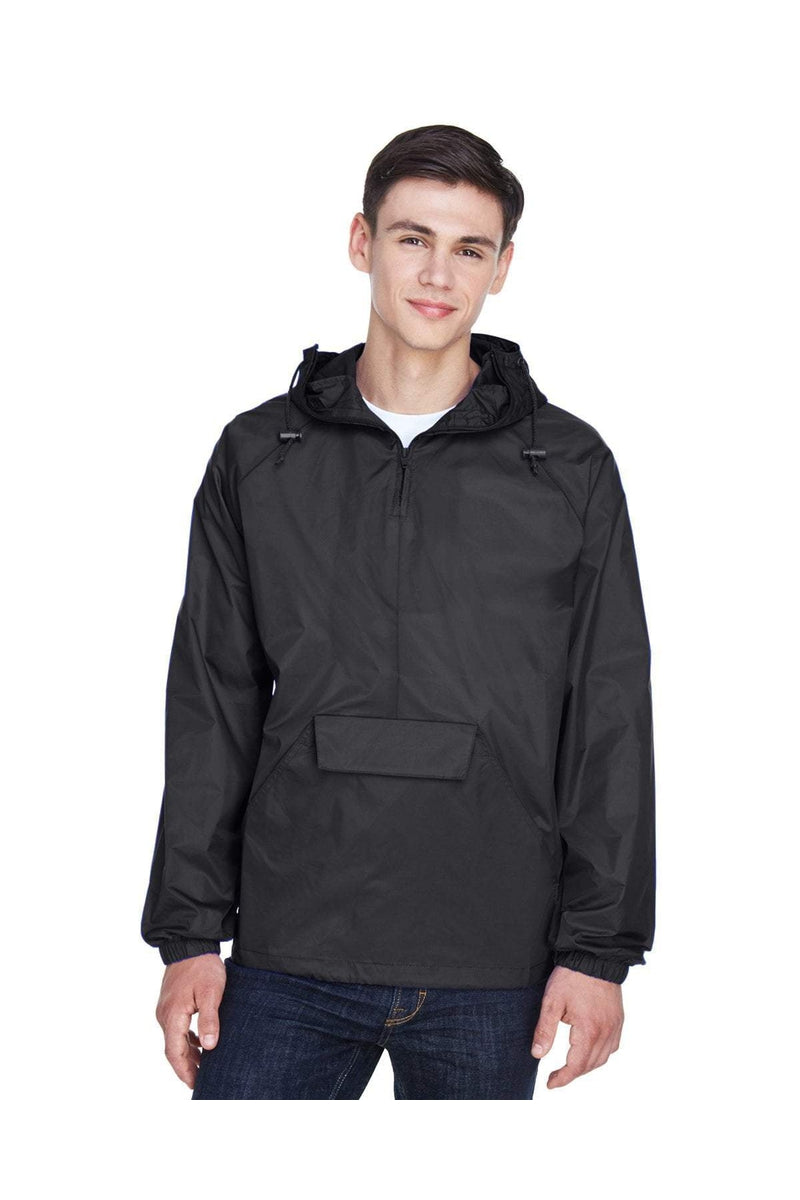 UltraClub 8925: Adult Quarter-Zip Hooded Pullover Pack-Away Jacket-Outerwear-Bulkthreads.com, Wholesale T-Shirts and Tanks