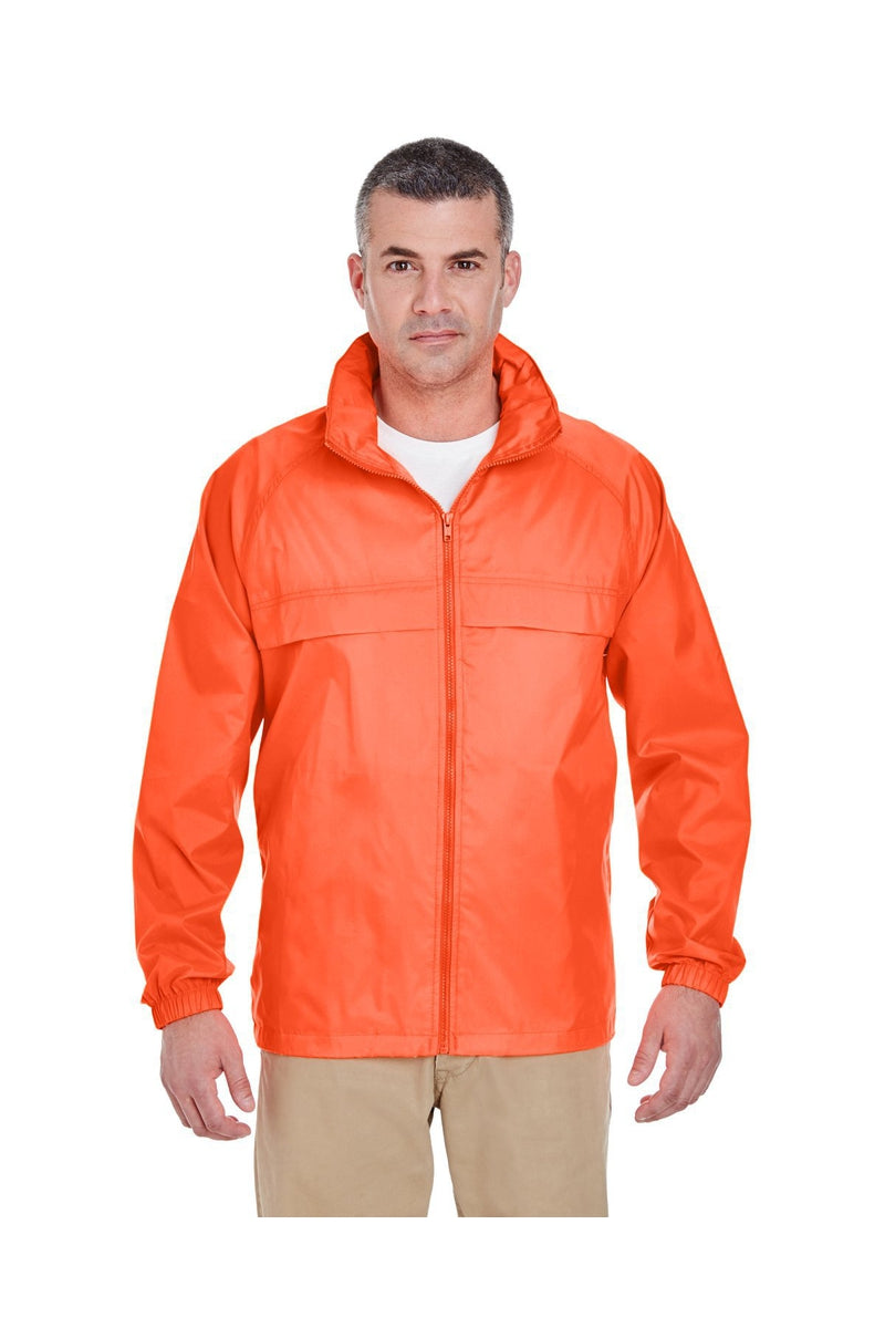UltraClub 8929: Adult Full-Zip Hooded Pack-Away Jacket-Outerwear-Bulkthreads.com, Wholesale T-Shirts and Tanks