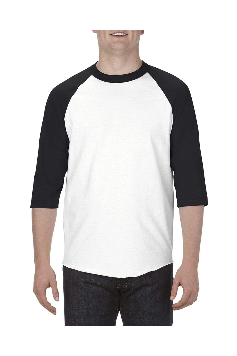 Alstyle AL1334: Adult 6.0 oz., 100% Cotton 3/4 Raglan T-Shirt-T-Shirts-wholesale apparel
