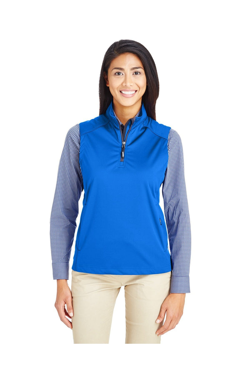 Ash City - Core 365 CE709W: Ladies' Techno Lite Three-Layer Knit Tech-Shell Quarter-Zip Vest-Outerwear-Bulkthreads.com, Wholesale T-Shirts and Tanks