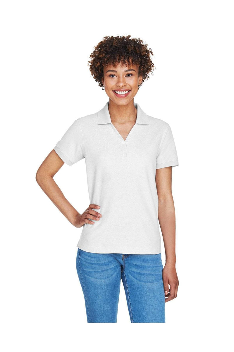 Devon & Jones D100W: Ladies' Pima Pique Short-Sleeve Y-Collar Polo-Polos-Bulkthreads.com, Wholesale T-Shirts and Tanks